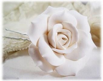 White Rose Hair Pin - White Rose Hair Clip, White Rose Bobby Pin, White Rose Wedding Hair Pin, White Rose Bridal Hair Pin, White Hair Flower