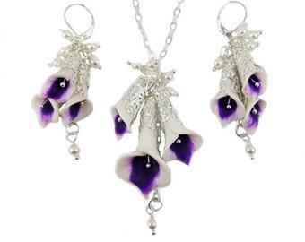 Cascading Purple Picasso Calla Lily Jewelry Set - Picasso Calla Lily Wedding Jewelry, Bridal Jewelry