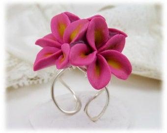 Plumeria Cluster Ring - Frangipani Ring, Plumeria Jewelry