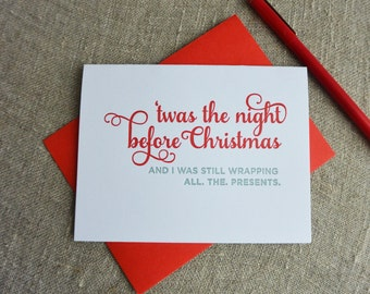 Letterpress Holiday Card - Up All Night Wrapping