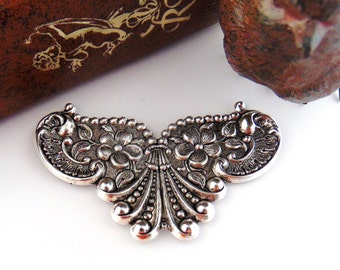 SILVER (2 Pieces) Cartouche Floral Shell Stampings - Jewelry Antique Silver Findings (C-801) #