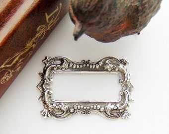 Closeout * ANTIQUE SILVER Victorian Bijou Ornate Scroll Frame Stamping ~ Jewelry Findings (FB-6023)
