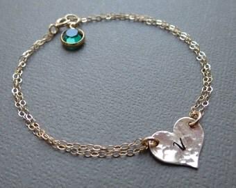 Personalized Heart Bracelet & Birthstone,Gold Heart Bracelet,Gift Idea for Valentines,Initial Bracelet,Bridesmaids Jewelry,Friendship Gift