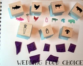 Menu, Food choice rubber stamps, meal option. P75