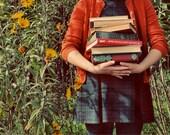 Whimsical Photograph, Autumn Portrait, School Girl, Orange, Fall Photo, Retro, Vintage Colors, Home Decor, Quirky, Whimsical, Fine Art Print