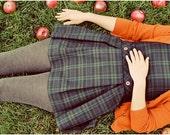 Retro Portrait,  Whimsical Photograph, Orange, School Girl Photo, Apples, Female Figure, Orange, Fall Colors, Modern Home Decor, Plaid