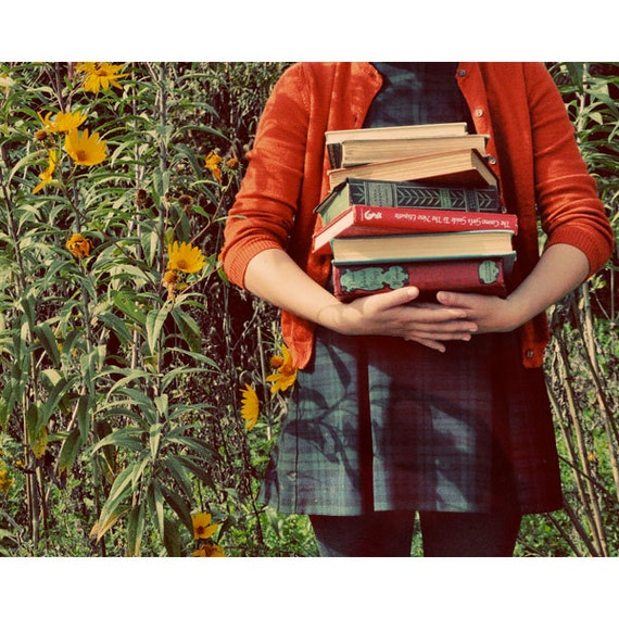 Whimsical Portrait Photography, Retro, School Girl, Books, Fine Art Print, September, Vintage Colors, Orange, Autumn Photograph, Fall Colors
