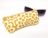 Glasses Case Eyeglass Case Sunglasses Sleeve Fabric Sunglass Holder Cream Flowers on Mustard Yellow