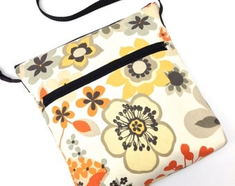 Cross Body Travel Messenger Bag - Yellow Orange Flowers on Natural Ivory Cream
