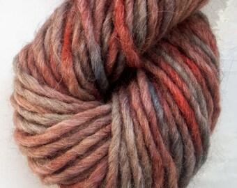 Hand painted merino alpaca yarn  mid grey, dark grey, brown, dark red 50g