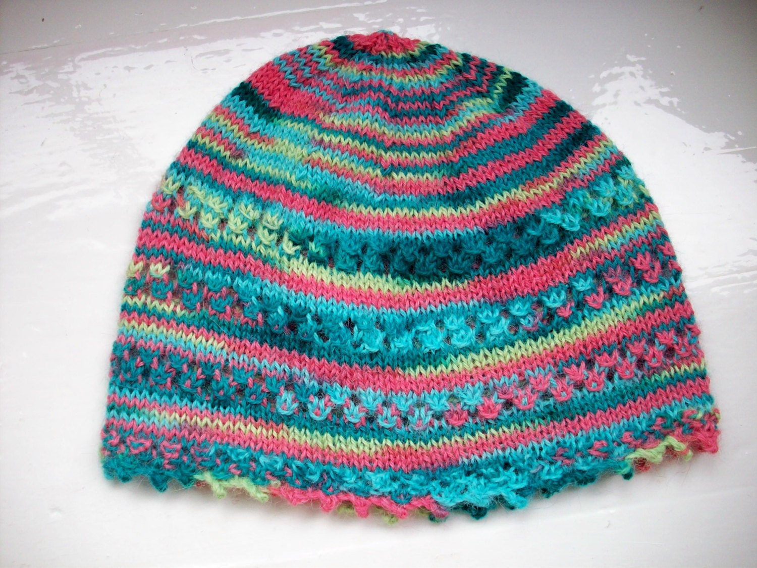 Childs hat knit beanie picot edge Spring hat light
