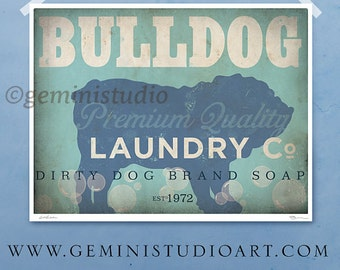 English Bulldog laundry company dog laundry room artwork giclee archival signed artists print Pick A Size