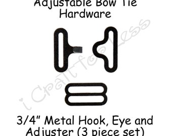 "50 Sets Adjustable Bow Tie Hardware Fastener Clips - Rounded Edge Slide Adjuster*, Hook and Eye - 3/4"" Black Metal - SEE COUPON"