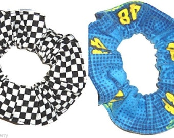 Jimmie Johnson 48 Racing Flannel Fabric Hair Scrunchie Checkered Flag Scrunchies by Sherry NASCAR