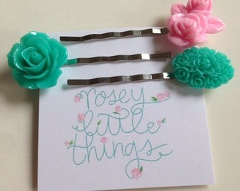 Aqua and pink flower bobby pins