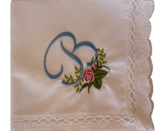 Embroidered Personalized Audrey Lace Edged Hankie with Rose Monogram