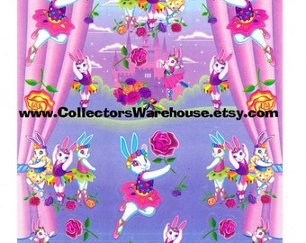 Lisa Frank Ballerina Bunnies Rose Scented Sticker Sheet S951-02 vintage castles flowers bouquet scentsations scratch and sniff