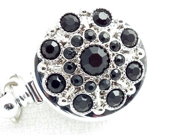 Magnetic Retractable ID Badge Black Rhinestone Button on Chrome Badge Reel
