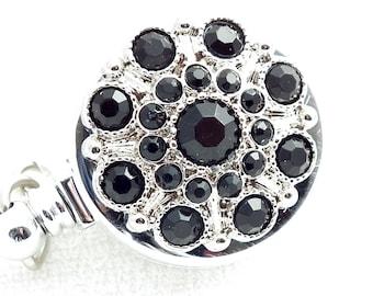 Retractable ID Badge, Black Rhinestone Button on Badge Reel - 169