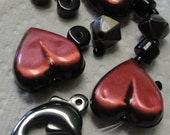 Metal Red Heart Beads, Black Beads and Dolphin Stone Charm