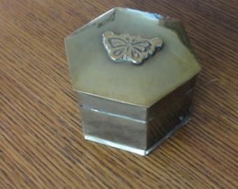 Brass Hexagon Butterfly Trinket Box
