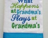 Organic Cotton What Happens at Grandma's Newborn Burp Cloth Hand Crafted
