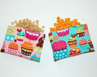 SWEET CUPCAKES (Pink and Aqua) - Eco Friendly Reusable Snack Bag Set (Zipper or Velcro)
