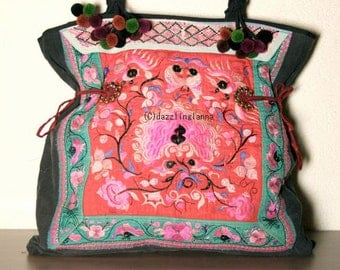 MEDIUM TOTE - Ethnic / Hip / Tribal / Hmong / Miao / Bohemian Tote - 430