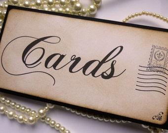Wedding Sign, Cards Birdcage Sign, Postcard Wedding Sign, Vintage Cards Sign, Guest Book Sign, Destination Wedding