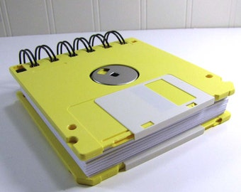 Floppy Disk Notebook JUMBO Butter Yellow Computer Disk Recycled Geek Gear Blank Mini 125 sheets