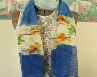 Vintage Woven Scarf, Blue, White, Floral, Gypsy, Retro, Romantic, Lightweight Wrap, Accessory, Ombre