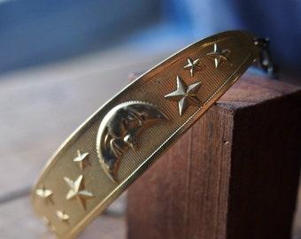Sweet moon and stars brass cuff style bracelet // B006