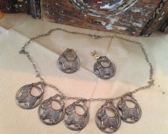 Vintage Scottie dog necklace and earring set