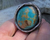reserved SpRing Sale Happiness is a big blue stone eco silver big ring Caribbean blue emerald green beautiful ROyston turquoise size 6.25
