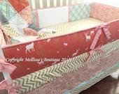 Custom Rustic Deer Forest Mint/Aqua & Coral/Blush with Gold Metallic 4-Piece Designer Crib Bedding Set MADE To ORDER