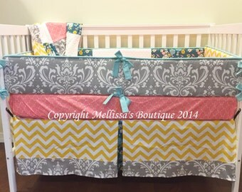 Custom Grey and Rose Pink & Aqua with Yellow 4-Piece Complete Boutique Crib Nursery Bedding Set with Piping