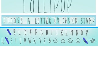 """LOLLiPOP - SINGLE STAMP - UPPeRcase Handwriting font by ImpressArt - 3/16"""" (4mm) size - choose a single stamp - how-to instructions included"""