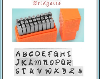 """NEW - Basic BRIDGETTE - UPPERcase Handwriting font by ImpressArt - 1/8"""" (3MM) size - includes tutorial for how to stamp metal"""