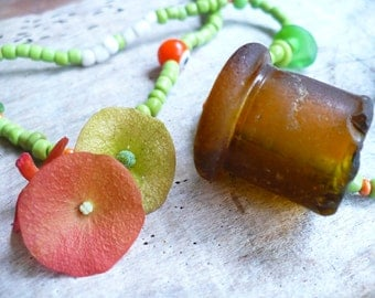 SEA GLASS...rare find pendant bottle topper - beaded necklace English sea glass -  green brown orange