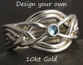Customizable 6 band puzzle ring in 10kt gold - more options available