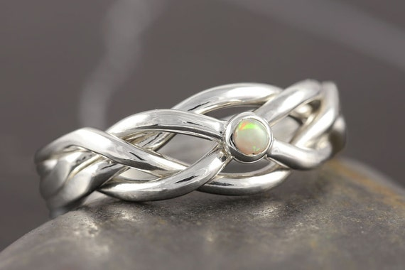 Australian opal puzzle ring in sterling silver