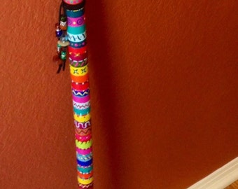 Funky hand painted wood cane with bead decor