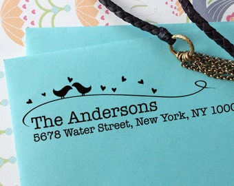 custom ADDRESS STAMP with proof from USA, Eco Friendly Self-Inking stamp, rsvp address stamp, custom stamp, custom address stamp Love Birds1
