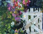 Open Gate, is signed original 8 x 8 encaustic painting.