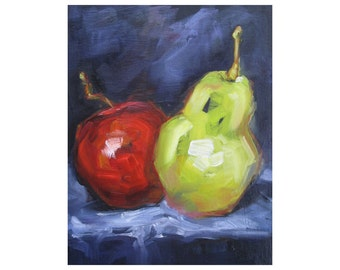 Apple and Pear. Oil Painting, Vermont country art, ARCHIVAL PRINT of original painting 8 by 10 and other sizes available