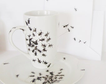 Ants Mug, Plate and Card Gift Set- Hand Painted - Insects of summer - Picnic Pests