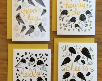 Cheery Graphic Bird Illustrated A6 Greeting Card - Set of Four