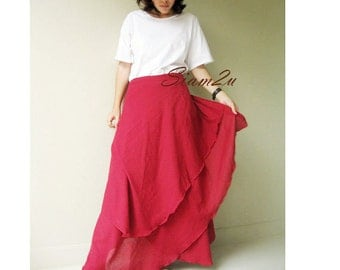 Custom Made Maroon Cotton Boho Two Layers Circle Wrap Skirt  (H)