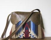 Wool Purse Shoulder Bag Two Toned Brown Leather Trim Rim Rock Blanket Wool
