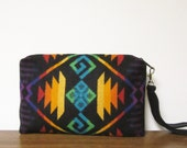 Wrist Bag Clutch Bag Purse Made with Pendleton Wool Removable Leather Strap